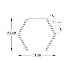 6 kantet 10,0 cm hvid