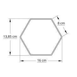 6 kantet 15,0 cm hvid