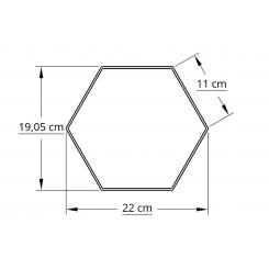 6 kantet 20,0 cm hvid