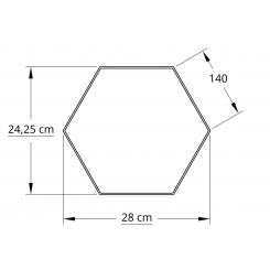 6 kantet 25,0 cm hvid