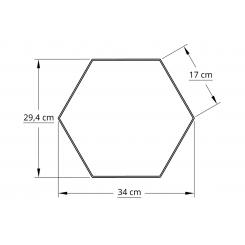 6 kantet 30,0 cm hvid