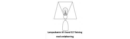 Lampeskærme i bund T-stel E27 fatning med omløber ring