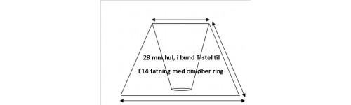 Lampeskærme i Bund T-Stel E14 fatning med omløber ring (lille fatning)